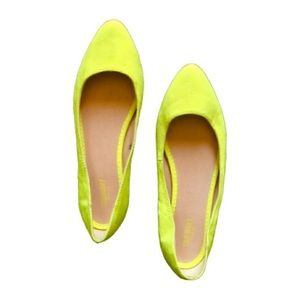 Neon Chartreuse Yellow Pointed Ballet Flats